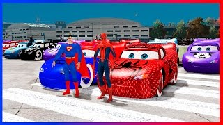 Spiderman and Superman Disney Cars 50 Colors Lightning McQueen Superhero Movie Video for Kids
