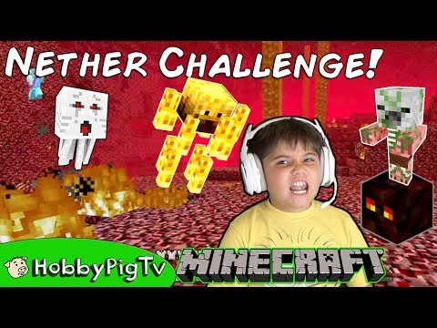 Minecraft Nether Castle Survival Challenge + Castle Build! Babies Chase HobbyPigTV
