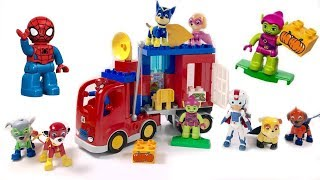 Paw Patrol Help Spiderman Duplo Lego Blocks Truck Adventure | Fizzy Fun Toys