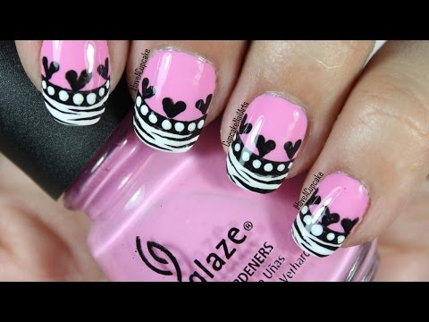 Pink Zebra Heart Nail Art