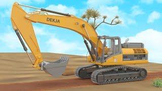 รถแม็คโคร รถเกรด การ์ตูน 3D เรียนรู้ส่วนประกอบรถก่อสร้าง รถดัมพ์ Excavator & grader assembly