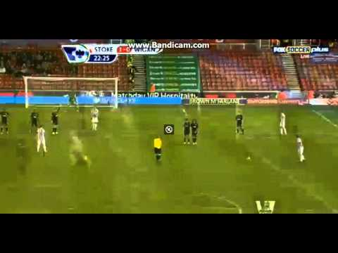 GREAT GOAL Ryan Shawcross  Stoke City 1-0 Wigan Athletic PREMIER LEAGUE 29-1-2013