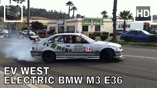 EV West Electric BMW M3 E36 Pikes Peak Race Car Drifts and Burnouts