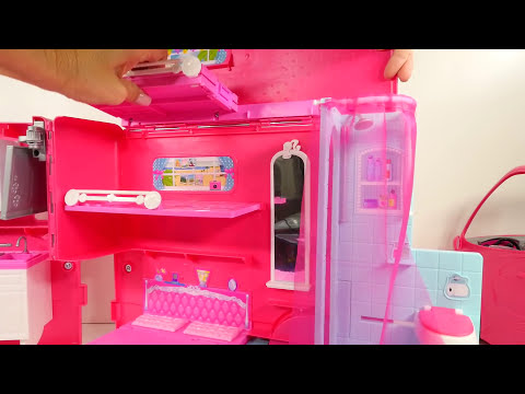 Barbie Glam Camper Swimming Pool Kitchen TV Bathroom Beds and Ariel Doll Fun Toys Review