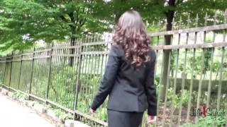 julie skyhigh walking in high heels louboutin in secretary outfit and fully fashioned nylons