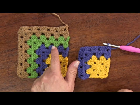 Granny square o cuadrado asimétrico tejido a crochet en varios colores de lana!