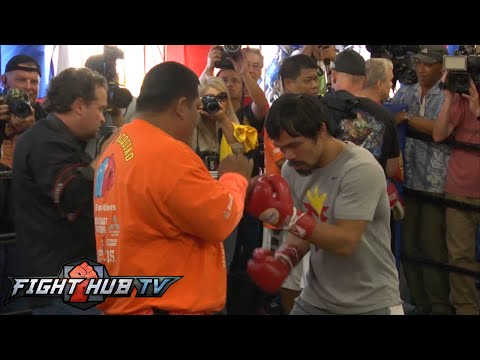 Floyd Mayweather vs. Manny Pacquiao full video-Pacquiao full media workout