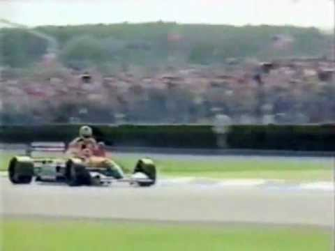 Nigel Mansell's 3rd British Grand Prix win and his 2nd at Silverstone. Mansell gives Senna a ride after winning and takes him back to the pits where Mansell ...
