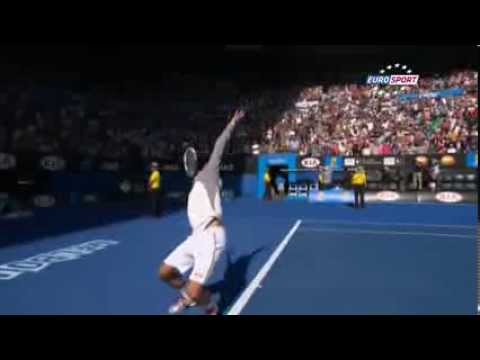Djokovic imite Becker // Djokovic mimicking Becker Australian Open 2014