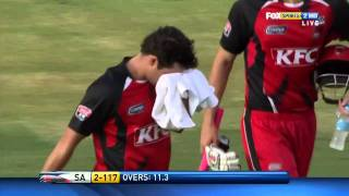 Download Callum Ferguson's nose is broken from Sajid Mahmood's short one during the KFC T20 Bigbash 2010 11 3Gp Mp4