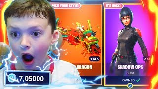 1 KILL = 5,000 V-BUCKS For My LITTLE BROTHER In Fortnite Battle Royale! (New Free Fortnite Skins)