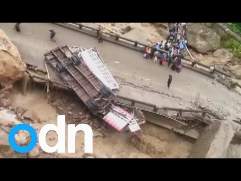 A bridge in Bolivia collapses after heavy rains