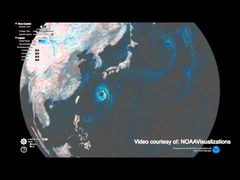Near real-time animation of weather around the globe