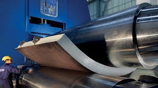 Amazing Biggest Steel Bending Machine At Work, Fast Extreme Large Plate Rolling Machines