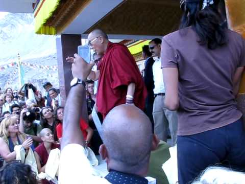 Dalai Lama talking to foreigners at teachings in Ladakh, India - 27 July 2010