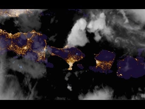 Strange blue lights seen from space above Bali Volcano
