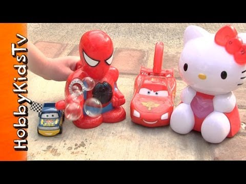 BUBBLE RACE! Spiderman, Hello Kitty, Lightning McQueen Bubbles RACE!