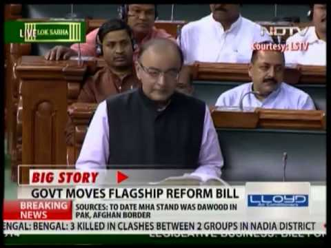 Arun Jaitley speaks in Parliament on the flagship reform bill