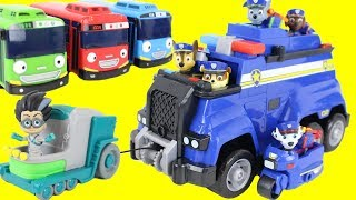 Paw Patrol Ultimate Rescue Police Cruiser! PJ Masks Romeo Tricks the Tayo the Little Bus Toys