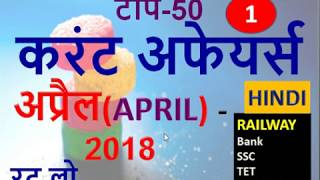 Current Affairs-APRIL 2018(RAILWAY/SSC/Bank/TET/Govt.Exams)