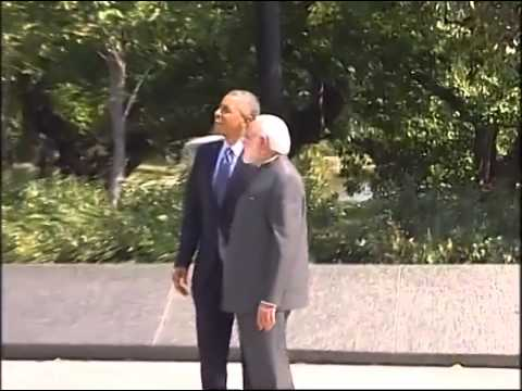 PM Modi & US President Barack Obama visit Martin Luther King Jr Memorial