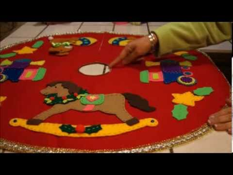 Diy pie de arbol navide o christmas tree skirt youtube for Arbol de navidad mural