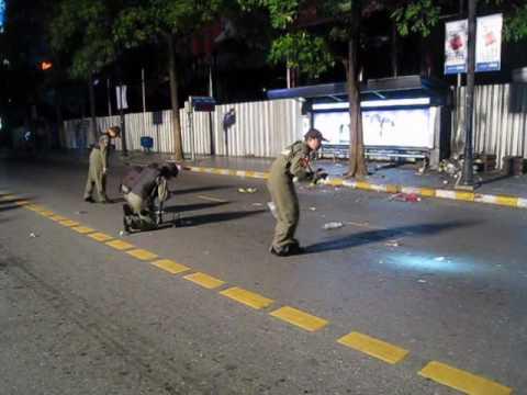 Aftermath of bomb blast outside the Big C, Ratchadamri Road, Bangkok - 25 July 2010