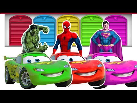 Learn Colors With Superheroes McQueen Cars Funny Videos - Learn Colors For Kids Children
