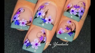 Hand Painted Flower Nails | Romantic Nail Art Design Tutorial