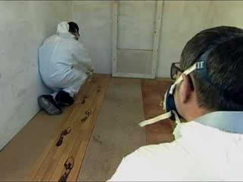 This clip demonstrates how footprints can be used by forensics to identify people.
