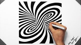 3D Spiral Optical Illusion - Speed Drawing ( How To Draw ) ( Tornado )