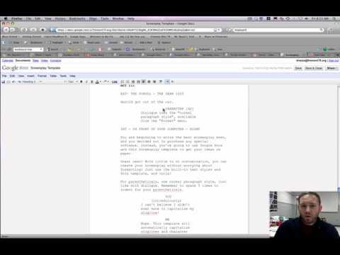 using the google docs screenplay template youtube