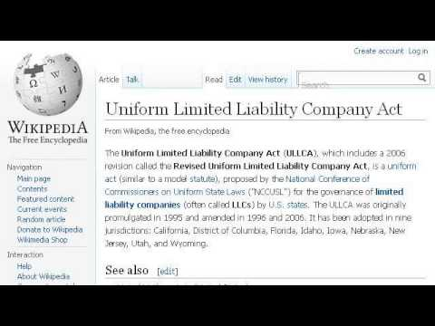 Uniform Limited Liability Company Act Of 2006