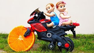 Funny Baby doll & Watermelon & Fruity Wheel SportBike Ride on POWER WHEEL by Max Time