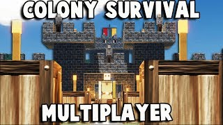 HUGE Kingdom! Colony Survival MULTIPLAYER w Friends (Colony Survival Multiplayer Gameplay Part 1)