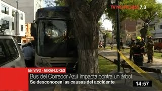 Accidente: un bus del Corredor Azul termina empotrado contra un árbol