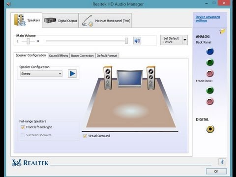 How to set Realtek HD Audio Manager for 5.1 playback
