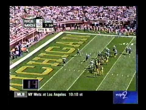 Game Played 9/11/99 After beating the Irish in the season opener Michigan stays undefeated by beating the Rice Owls 37-3!!!