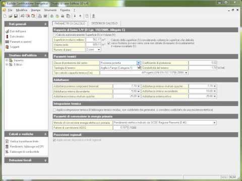 02. Euclide Certificazione Energetica - Parametri ed opzioni