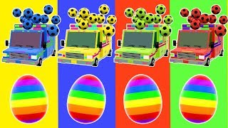 DiliDili TV | Learn Colors for Youtube Kids | Rainbow Surprise Eggs, Street Vehicles, Soccer Balls