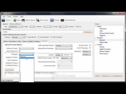 AfterDawn Handbrake Guide Part 8 - Setting H.264 encoder settings