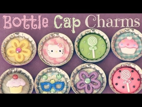 Bottle cap pins magnets charms how to recycle youtube for Large bottle caps for crafts