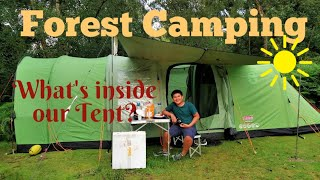 Family Camping in the Forest / What's Inside Our Tent