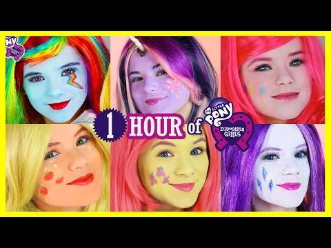1 HOUR MY LITTLE PONY MANE 6 MAKEUP TUTORIALS! Rainbow Dash Pinkie Pie Twilight Sparkles KITTIESMAMA