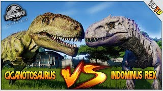 INDOMINUS REX Vs GIGANOTOSAURUS! EPIC DINOSAUR BATTLE! Jurassic World: Evolution Battle Park E1