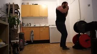 MMA training Pivot right elbow followed by a right sideways elbow