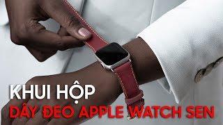 Khui hộp dây đeo da Apple Watch hiệu Sen do Khắc Tên làm thủ công, made in Vietnam