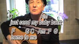 Take Good Care of my Baby - Bobby Vee cover-easy chords guitar lesson-on-screen chords and lyrics