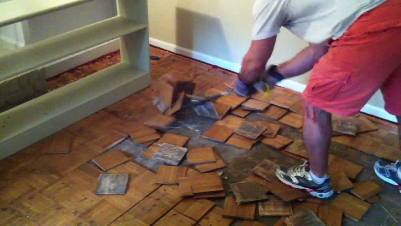 How to remove parquet hardwood flooring youtube for Removing hardwood floors