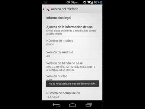 Sony Xperia M - Activar depuracion usb android 4.3 (opciones de desarrollo)